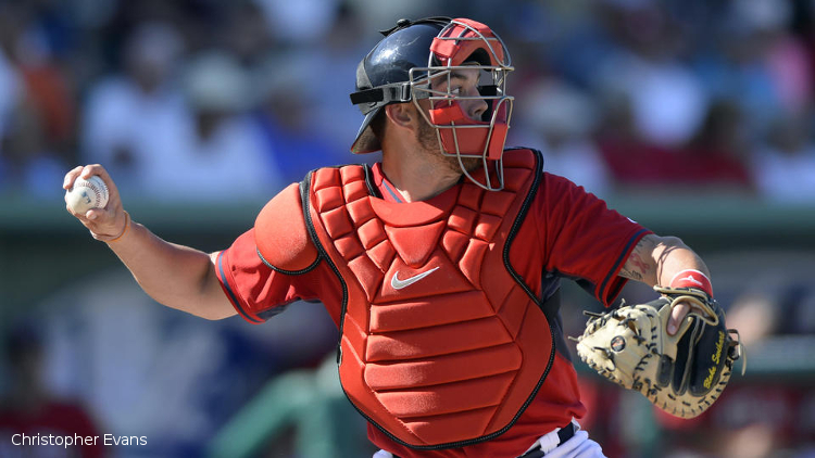 (Ft. Myers, FL, 03/04/14) Boston Red Sox catcher Blake Swihart is seen in action against the Tampa Bay Rays during a spring training baseball game at JetBlue Park in Ft. Myers, Florida on Tuesday, March 04, 2014. Staff photo by Christopher Evans