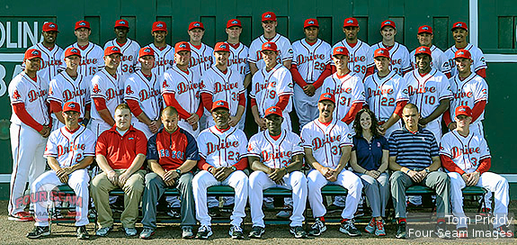 Photo of the Greenville Drive during Media Day just prior to the start of the 2013 season on Tuesday, April 2, 2013, at Fluor Field at the West End in Greenville, South Carolina. (Tom Priddy/Four Seam Images)