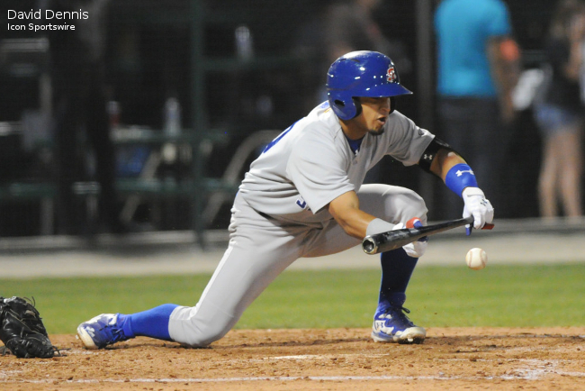 May 20 2015: Stockton Ports shortstop Franklin Barreto (10) bunts during the game between the Stockton Ports and the Bakersfield Blaze at Sam Lynn in Bakersfield, CA.